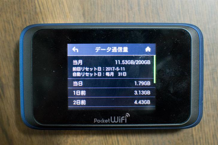 3日間10GB制限ナシのWi-Fiルーター