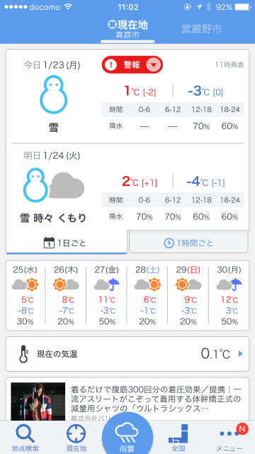 真冬の真庭市の天気
