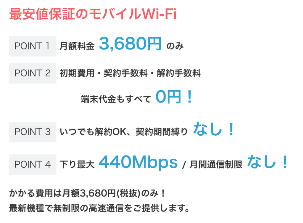 space wifiの料金